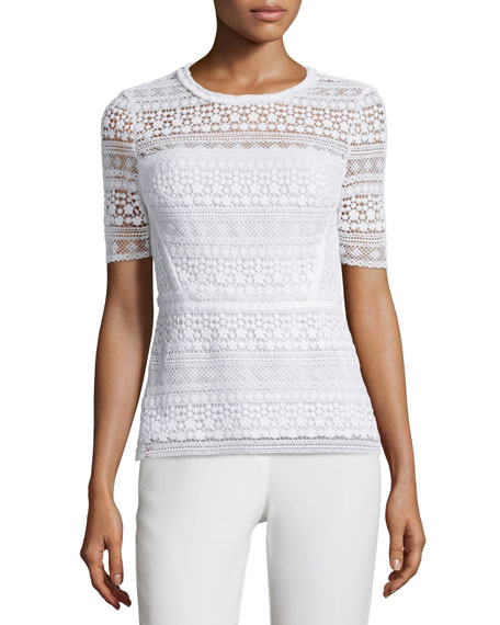 Diondora Half-Sleeve Lace Blouse, Optic White