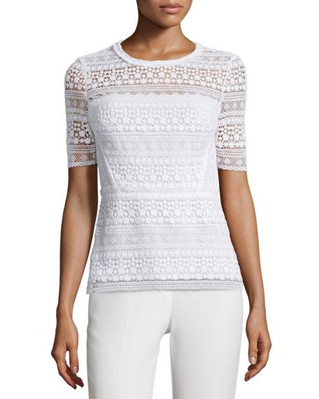 Diondora Half-Sleeve Lace Blouse, Optic White