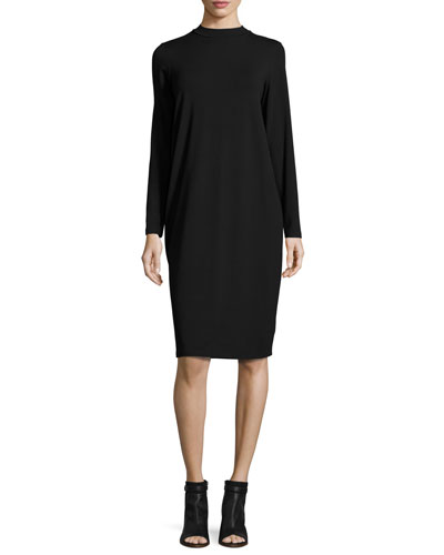 Funnel-Neck Jersey Dress, Black, Plus Size