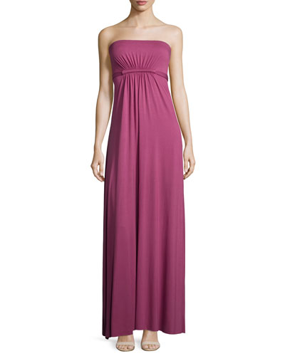 Strapless Empire-Waist Caftan Maxi Dress, Vino