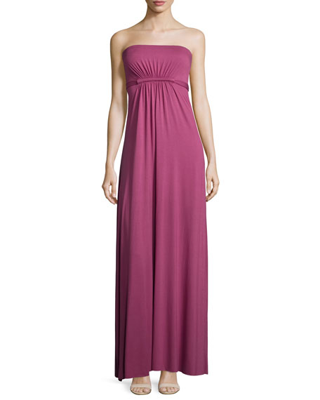 Rachel Pally Strapless Empire-Waist Caftan Maxi Dress, Vino