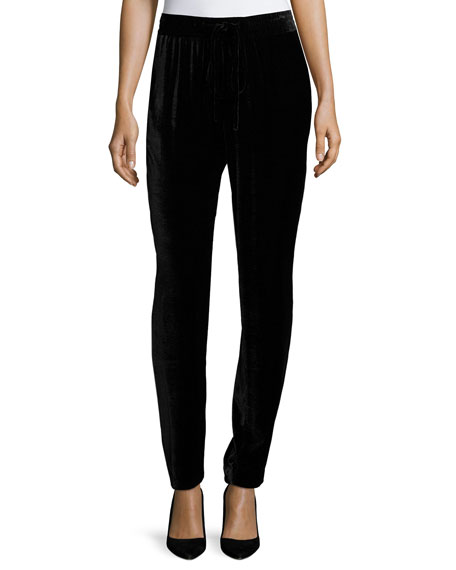 Kobi Halperin Bianca Silk Velvet Ankle Pants, Black