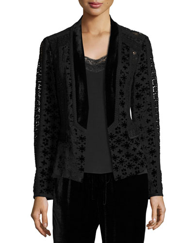 Pippa Velvet & Crocheted Combo Jacket, Black