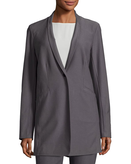 Stretch-Crepe Stand-Collar Long Jacket, Ash, Petite