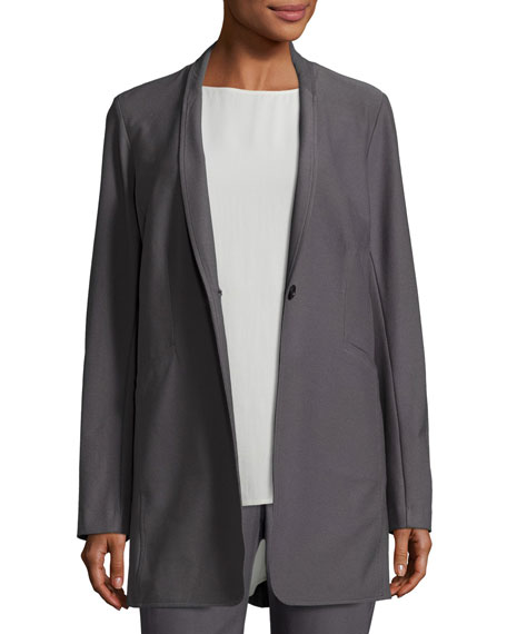 Eileen Fisher Stretch-Crepe Stand-Collar Long Jacket, Ash, Petite
