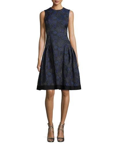 Sleeveless Floral-Jacquard A-Line Dress, Midnight