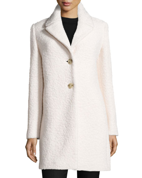 Elie Tahari Jacquard Wool Car Coat Winter White