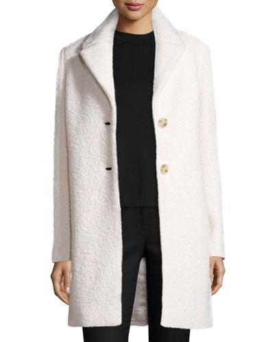 Jacquard Wool Car Coat, Winter White