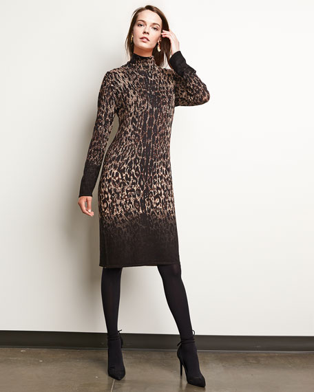 Long-Sleeve Ombre Leopard-Print Sheath Dress