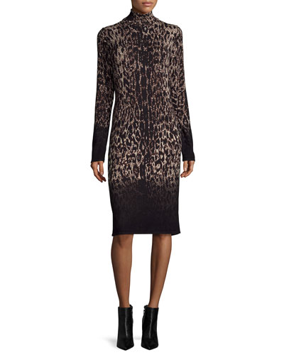 Long-Sleeve Ombre Leopard-Print Sheath Dress