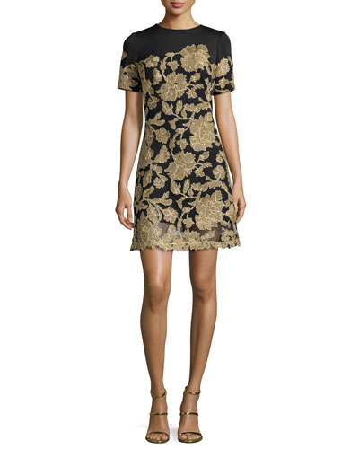 Short-Sleeve Embroidered Cocktail Dress, Black/Gold