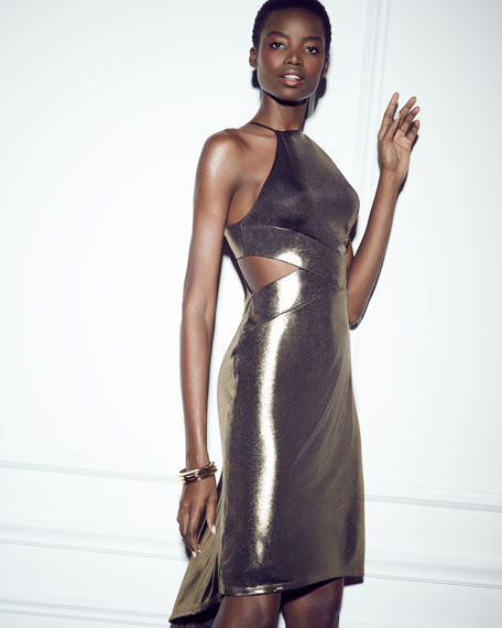Sleeveless Cutout Metallic Jersey Midi Dress, Bronze