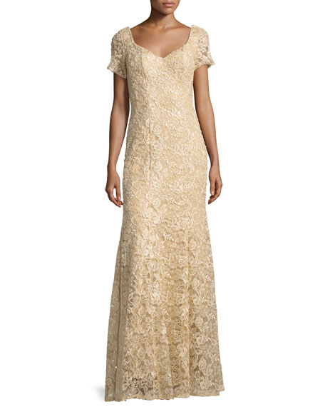 Short-Sleeve Sequined Lace Gown