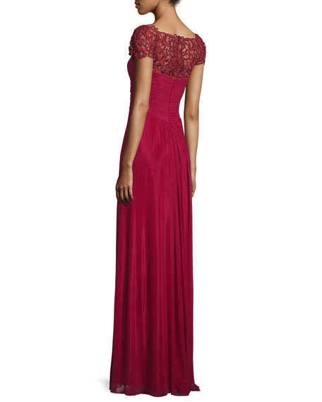 Cap-Sleeve Beaded Lace-Trim Chiffon Gown