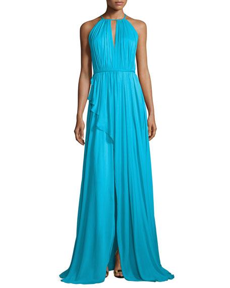 Sleeveless Shirred Silk Gown, Aqua