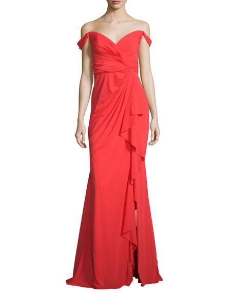 Badgley Mischka Off-the-Shoulder Stretch Silk Sweetheart Gown,
