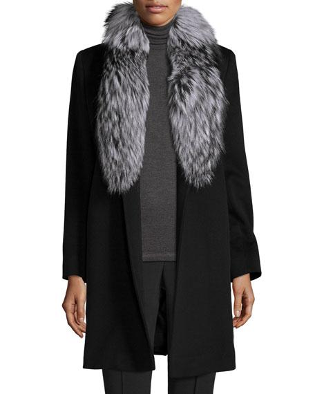 Fleurette Belted Fur-Trim Wrap Coat, Black