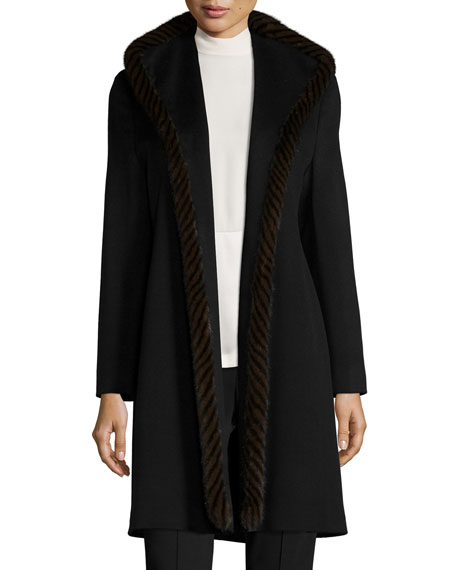 Fleurette Wool Open-Front Coat w/ Mink Fur, Black