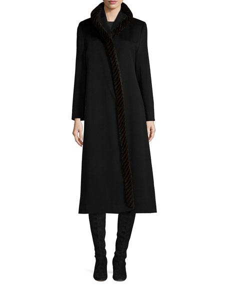 Fleurette Long Wool Coat w/ Mink Fur, Black