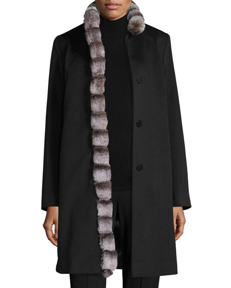 Fleurette Wool Coat w/ Rabbit Fur Trim, Black