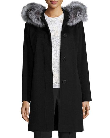 Fleurette Hooded Wool Fur-Trim Coat, Black