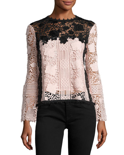 Long-Sleeve Lace Colorblock Top, Black/Blush