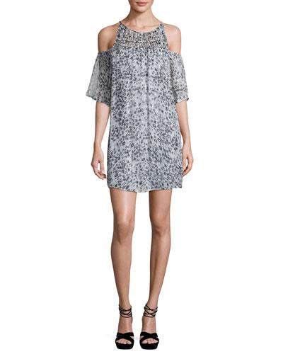 Carlotta Metallic Leopard-Print Dress