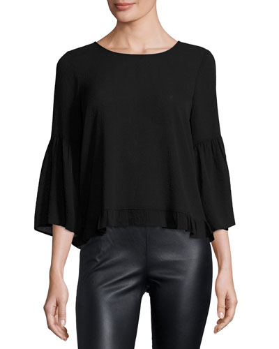 Nette Bell-Sleeve Fill-Hem Top