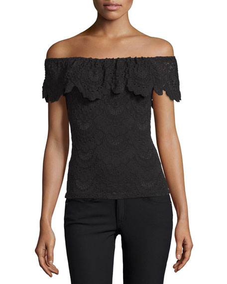 Positano Off-the-Shoulder Lace Top, Black