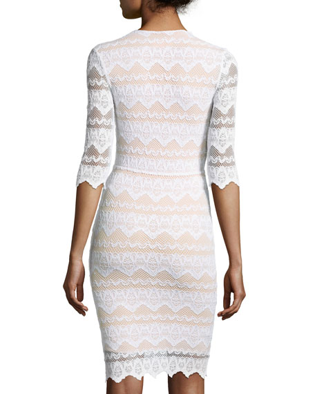 Sierra Lace 3/4-Sleeve Dress, Dove