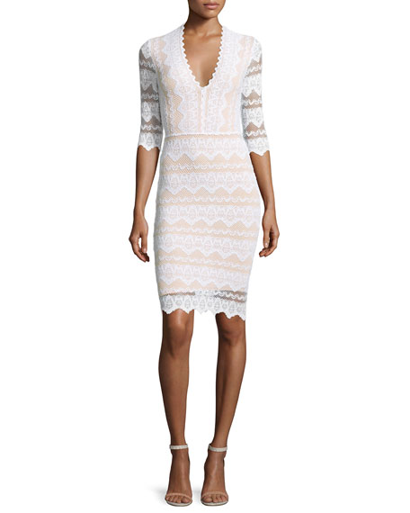 Nightcap Clothing Sierra Lace 3/4-Sleeve Dress, Dove