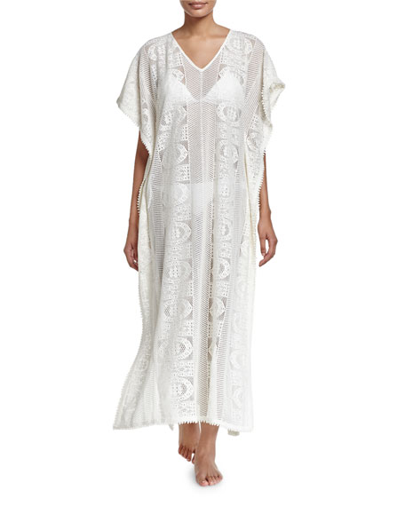 Seafolly Floral Lace Maxi-Caftan Coverup, Milk