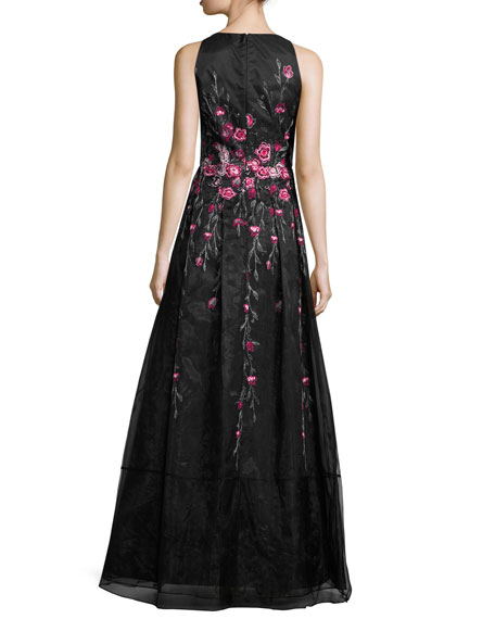 Sleeveless Pleated Floral Tulle Gown, Black/Pink