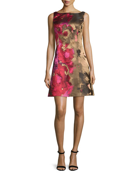 Kay Unger New York Sleeveless Floral Taffeta Cocktail
