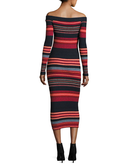 Striped Off-the-Shoulder Ribbed Midi Dress, Scarlet Multi