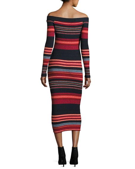 Striped Off-the-Shoulder Ribbed Midi Dress, Scarlet Multi