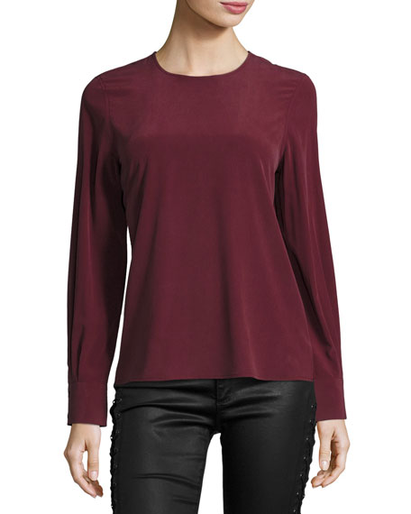 AG Long-Sleeve Silk Blouse, Wine
