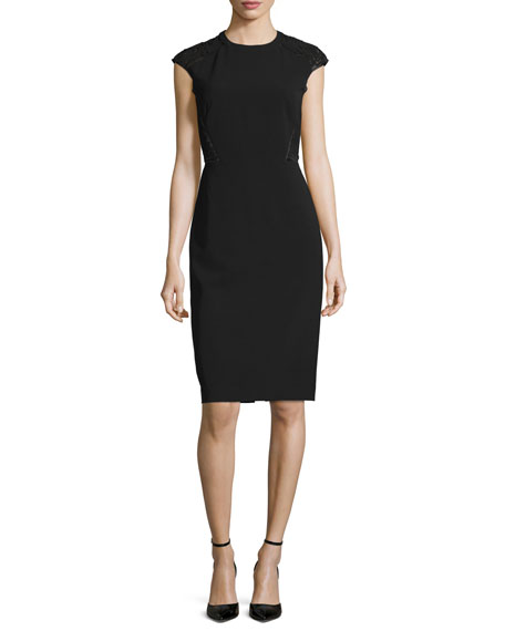 Lafayette 148 New York Cap-Sleeve Talon Sheath Dress