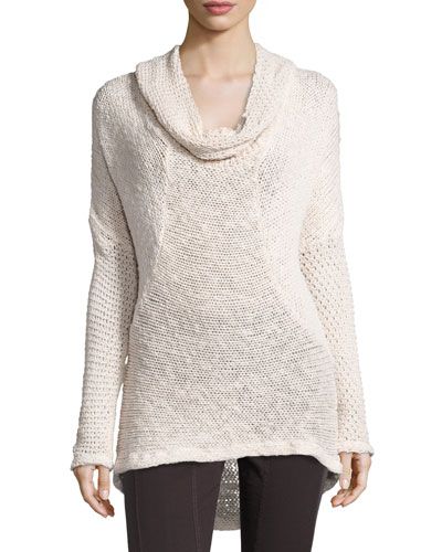 Diamante-Knit Cotton Sweater, Sugar