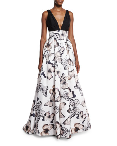 Sleeveless Pleated Butterfly-Print Gown, Black/Multicolor