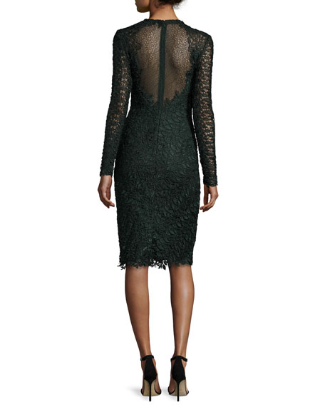 Long-Sleeve Leaf Lace Cocktail Dress, Hunter