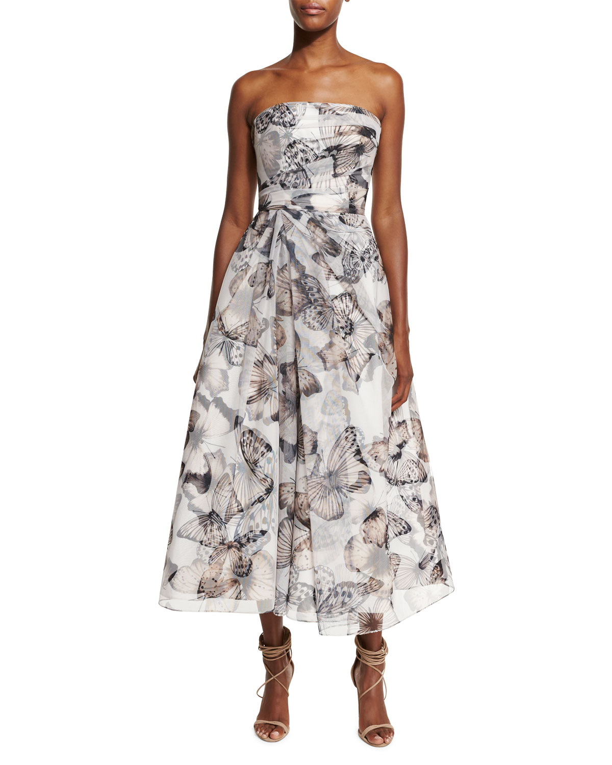ac30332f006 ML Monique Lhuillier Strapless Butterfly-Print Midi Cocktail Dress ...