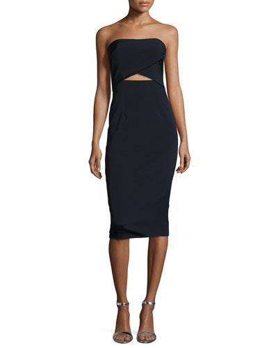 Strapless Cutout Midi Cocktail Dress, Midnight