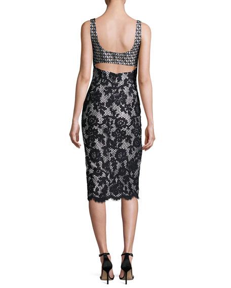 Sleeveless Mixed-Lace Cutout Midi Dress, Noir