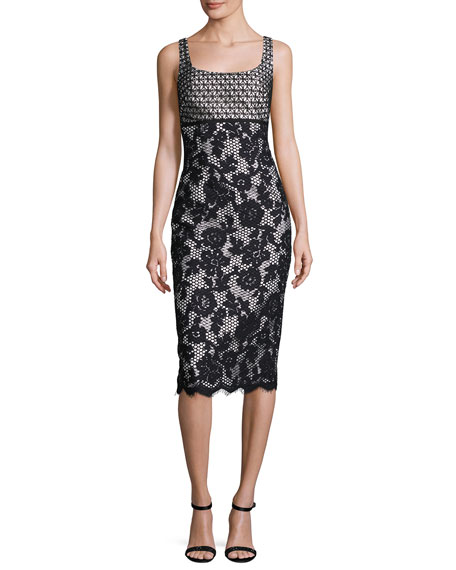 ML Monique Lhuillier Sleeveless Mixed-Lace Cutout Midi Dress,