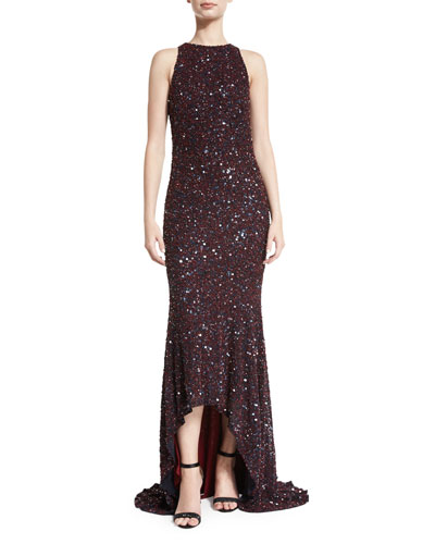 Beaded High-Neck High-Low Gown, Burgundy/Navy