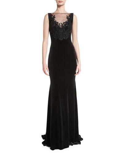 Sleeveless Embroidered Velvet Illusion Gown, Black