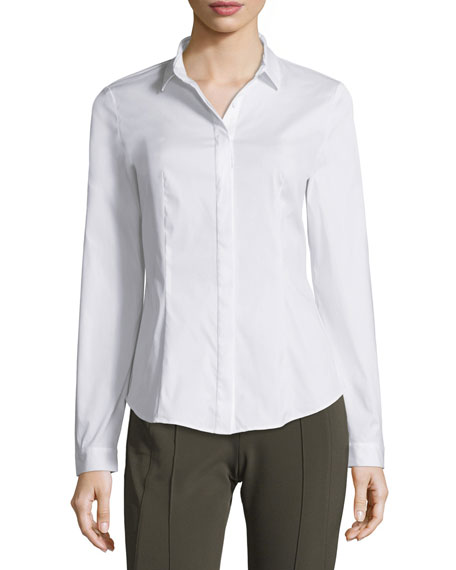 Lafayette 148 New York Frieda Button-Front Stretch-Cotton Blouse,