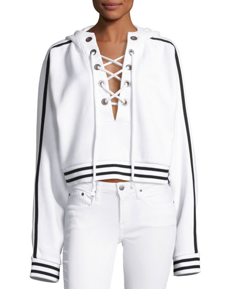 fenty puma by rihanna lace up hoodie sweatshirt puma white. Black Bedroom Furniture Sets. Home Design Ideas