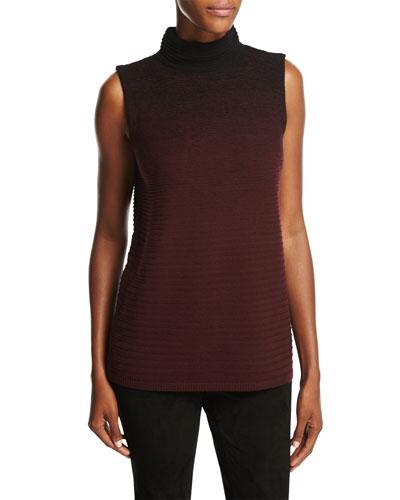 Sleeveless Mock Neck Ombre-Stitched Sweater, Black Multi, Plus Size